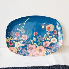 Blauwe bloemen print rechthoekig melamine bord - Rice
