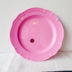 Roze rond melamine bord - Rice