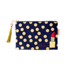 Flat Pencil Case in Dark Blue with Gold Dots and Lipstick - Rice